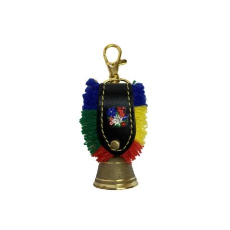 Schlüsselanhänger - Messingglöckchen Ø 3 cm mit Lederband und bunten Franzen