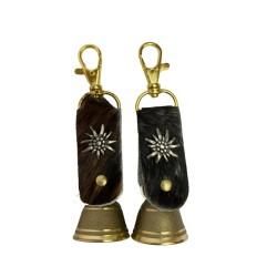 Schlüsselanhänger - Messingglöckchen Ø 3 cm mit Lederband mit Fell und Edelweiß