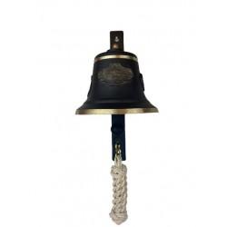 SET: Tiroler Glocke m. Verzierung Ø 14 cm, braun patiniert mit Ringklöppel, Läuteschnur und Wandgehänge